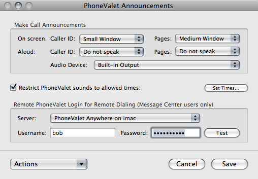 PhoneValet Announcements Preferences